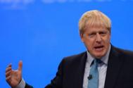 El premier Boris Johnson, durante su discurso en Manchester.