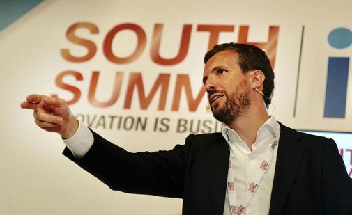 Pablo Casado, durante una intervencion en el South Summit, el...