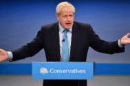 Boris Johnson en la conferencia anual de partido conservador.
