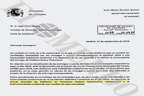 Extracto de la carta remitida por la secretaria de Estado de Hacienda,...