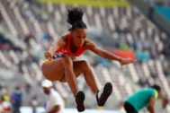Doha (Qatar).- Ana <HIT>Peleteiro</HIT> of Spain competes in the women's Triple Jump qualification during the IAAF World Athletics Championships 2019 at the Khalifa Stadium in Doha, Qatar, 03 October 2019. (Mundial de Atletismo, Triple salto, España, Catar) EPA/