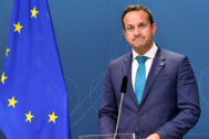 Irish PM Varadkar during a news conference with Swedish PM Lofven in Stockholm