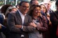 El secretario general del PSOE de Huelva y presidente de la Diputación, Ignacio Caraballo, junto a Susana Díaz.