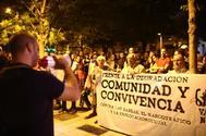 Imagen de la protesta celebrada este jueves en Vallecas.