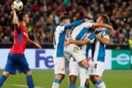 Moscow (Russian Federation).- Players of RCD <HIT>Espanyol</HIT> celebrate a goal during the UEFA Europa League group stage match in Moscow, Russia, 03 October 2019. (Rusia, Moscú) EPA/