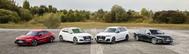De izquierda a derecha: A7 Sportback TFSIe, Q5 TFSIe, Q7 TFSIe,  y A8 TFSIe.