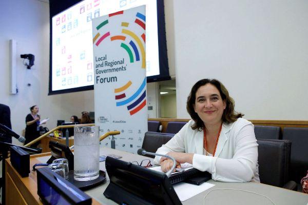 MIA45. NACIONES UNIDAS (NY, EEUU), 24/09/2019.- La alcaldesa de Barcelona, Ada <HIT>Colau</HIT>, preside la inauguración de la cumbre mundial de grandes ciudades por la emergencia climática, este martes en la sede de las Naciones Unidas en Nueva York (EE.UU.).
