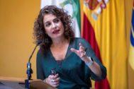 La ministra de Hacienda, María Jesús Montero, durante un acto en Sanlúcar de Barrameda.