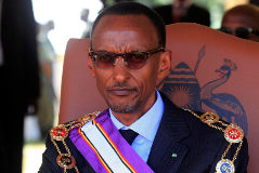 Rwandan President Paul <HIT>Kagame</HIT> wears the Pearl of Africa medals he was awarded by his Ugandan counterpart Yoweri Museveni n Kapchorwa district, 287km (172 miles) east of Kampala, January 27, 2012. The Pearl of Africa and Kagera awards are the highest honour reserved for the heads of state, in recognition of contribution to the 1981-1986 National Resistance Movement and army (NRM/NRA) liberation struggle of Uganda. REUTERS James Akena (UGANDA - Tags: POLITICS) - GM1E81S028Z01