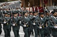 Guardias civiles desfilan en Madrid, en el desfile con motivo de la Fiesta Nacional celebrado en 2018.