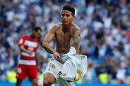 GRAF5418. MADRID.- El jugador colombiano James Rodríguez del Real Madrid, celebra su gol ante el Granada, en el partido correspondiente a la octava jornada de LaLiga Santander, disputada en el Estadio Santiago <HIT>Bernabéu</HIT>.