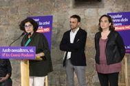 Antonio Moreno 06.10.2019 Barcelona Cataluña.Presentación campaña de Común Podem ,Jaume Asens candidato al congreso, Rosa Lluch para el Senado hija de Ernest Lluch asesinado por ETA y Ada <HIT>Colau</HIT> en Barcelona.