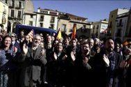 Imagen de archivo de la protesta de Cs en Amer, el pueblo de Puigdemont