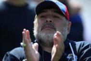 Maradona, durante el partido ante Godoy Cruz.
