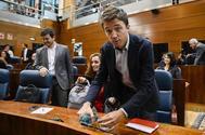 El candidato de Más País a la Presidencia del Gobierno, Íñigo Errejón, en la Asamblea de Madrid.