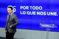 """El secretario general del PP, Teodoro García Egea, ha presentado hoy en Madrid el nuevo lema de precampaña del partido: """"Por todo lo que nos une""""."""