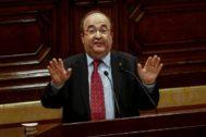 Miquel Iceta esta tarde en el Parlament.