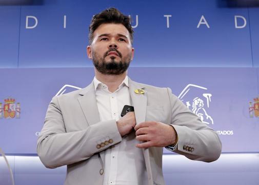 El diputado de ERC Gabriel Rufián, en una rueda de prensa, en el...
