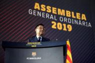 Bartomeu, en la Asamblea de Compromisarios del Barça.