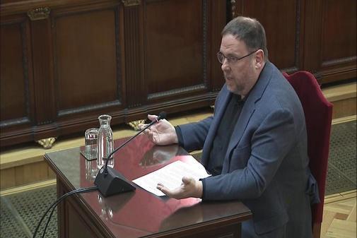 Oriol Junqueras, durante su turno de última palabra en el juicio del...