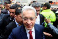 El ex presidente colombiano Álvaro Uribe a su llega a la Corte, en Bogotá.