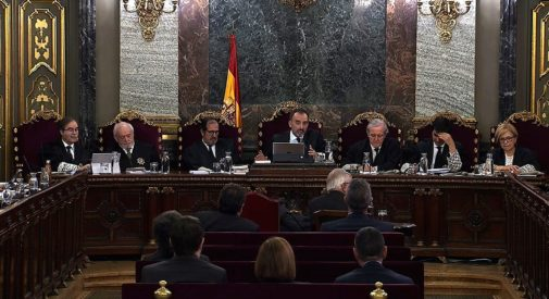 Los siete magistrados que conforman el tribunal del 'procés', en un momento del juicio, el pasado mes de marzo, en Madrid.