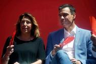 Susana Díaz y Pedro Sánchez en un acto electoral en Córdoba.