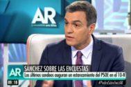 El presidente del Gobierno en funciones, Pedro Sánchez, en un momento de la entrevista.