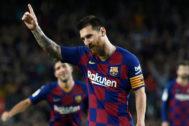 Leo Messi celebra su primer gol en esta Liga frente al Sevilla.