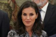 La Reina Letizia durante una recepción en Zarzuela.