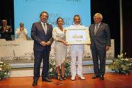 Antonio Pulido (presidente Fundación Cajasol), Marta Bosquet (presidente Parlamento de Andalucía), Santiago de Colsa (comandante del buque escuela Juan Sebastián Elcano) y Francisco Herrero (presidente Cámara de Comercio de Sevilla).
