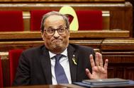 El presidente de la Generalitat catalana, Quim Torra, en el debate de la moción de censura, este lunes, en el Parlament.