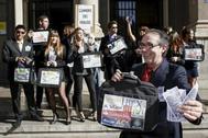 Foto de archivo de la plataforma Pobreza Cero en una protesta contra el fraude fiscal y los paraísos fiscales