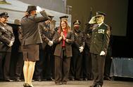 La alcaldesa de Móstoles, Noelia Posse, en un acto de la policía.