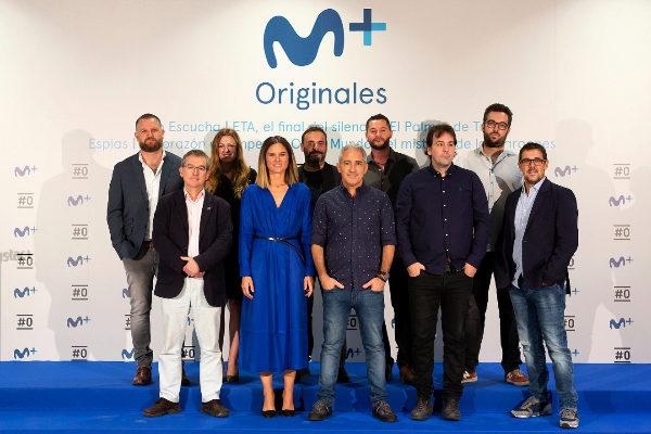María José Rodríguez, con los responsables de los seis nuevos proyectos de no ficción de Movistar+.