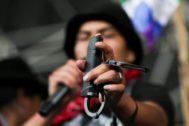 Protests against <HIT>Ecuador</HIT>'s President Lenin Moreno's austerity measures, in Quito