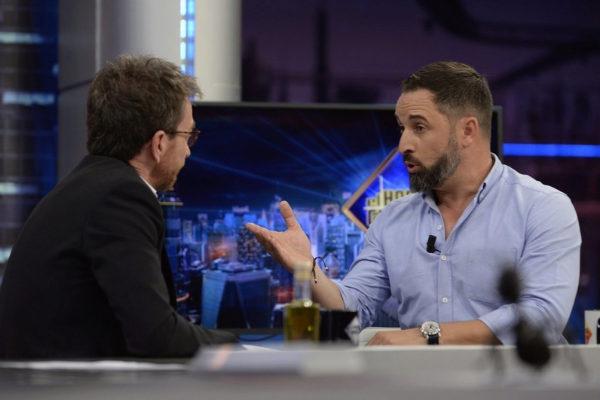 Santiago Abascal y Pablo Motos durante su entrevista en El Hormiguero.