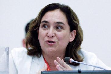 La alcaldesa de Barcelona, Ada Colau, preside la inauguración de la cumbre mundial de grandes ciudades por la emergencia climática, este martes en la sede de las Naciones Unidas en Nueva York (EE.UU.)