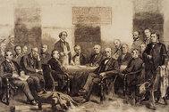 Las reuniones existen  desde el comienzo  de los tiempos. Una tribu es una reunión, al igual que el ágora griega o las asambleas de la ONU. El grabado de la imagen representa a los delegados de la Norteamérica británica reunidos para resolver los términos de su confederación (1864).