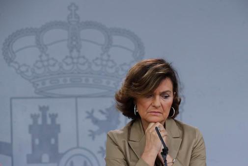 Carmen Calvo, en la rueda de prensa tras el Consejo de Ministros de...