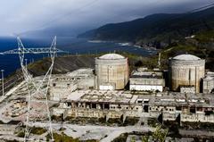 Instalaciones de la central nuclear de Lemóniz con los dos reactores en el centro de la imagen.