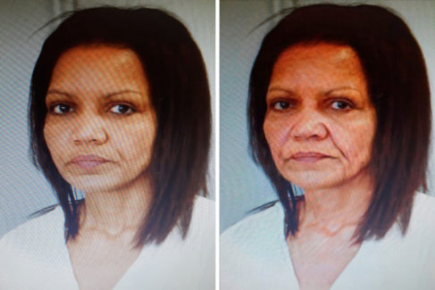 El rostro de Ana Julia Quezada sometido a un proceso de envejecimiento informático para simular su aspaecto dentro de 25 años.