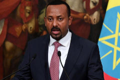 Rome (Italy).- (FILE) - Ethiopian Prime Minister <HIT>Abiy</HIT> <HIT>Ahmed</HIT> <HIT>Ali</HIT> during a press conference at Chigi Palace in Rome, Italy, 21 January 2019 (reissued 11 October 2019). <HIT>Abiy</HIT> <HIT>Ahmed</HIT> was awarded with the 2019 Nobel Peace Prize, the Norwegian Nobel Committee announced 11 October 2019. (Etiopía, Italia, Noruega, Roma) EPA/ *** Local Caption *** 54919901