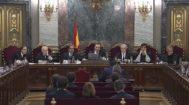 El tribunal que ha juzgado el 1-O: de izquierda a derecha, los magistrados del Tribunal Supremo Andrés Palomo, Luciano Varela, Andrés Martínez Arrieta, Manuel Marchena, Juan Ramón Berdugo, Antonio del Moral y Ana Ferrer.