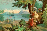 Reconstrucción de 1900 de la llegada a América de la expedición de Colón