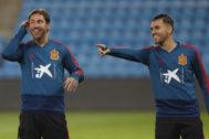 Ramos y Ceballos, durante el entrenamiento de España en Oslo.