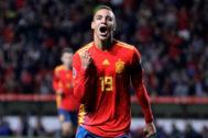 Rodrigo celebra un gol ante Islas Feroe.