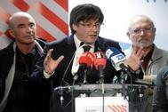 Carles Puigdemont en una conferencai de prensa en Waterloo, en Bélgica.