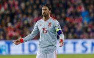 Sergio Ramos, durante el partido en Oslo.