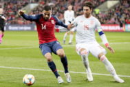 Oslo (Norway).- Norway's Omar Eladbellaoui, (L) fights for the ball against Spain's Sergio <HIT>Ramos</HIT>, during the UEFA EURO 2020 qualifying Group F soccer match between Norway and Spain at Ullevaal Stadium in Oslo, Norway, 12 October 2019. (Laos, Noruega, España) EPA/ NORWAY OUT